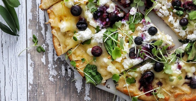 Triple Cheese Cauliflower Crust Pizza with Blueberries & Fresh Greens