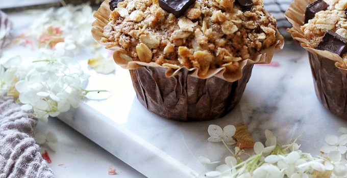 Dark Chocolate Crunch Zucchini Muffins