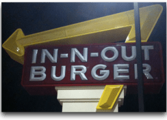 In 'N Out Burger Signage at 11pm