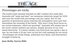Letter in @theage exposes an important point. The Fed Govt fudges on #ClimateAction and the media .... well! #Auspol