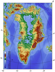 somethin goin wrong around Topographical map of an archipelago-like Greenland without its overlaying ice sheet. Glacial outflows are likely to be most intense toward the northeast, ...