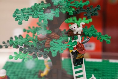 Fire fighter saving cat in tree in LEGO display in Myer