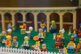 Crowd of minifigures in LEGO display at Myer
