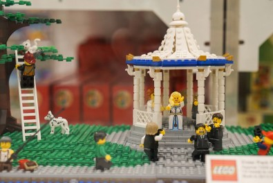 Wedding in rotunda in LEGO display in Myer
