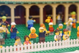 Cricket fans in LEGO display in Myer