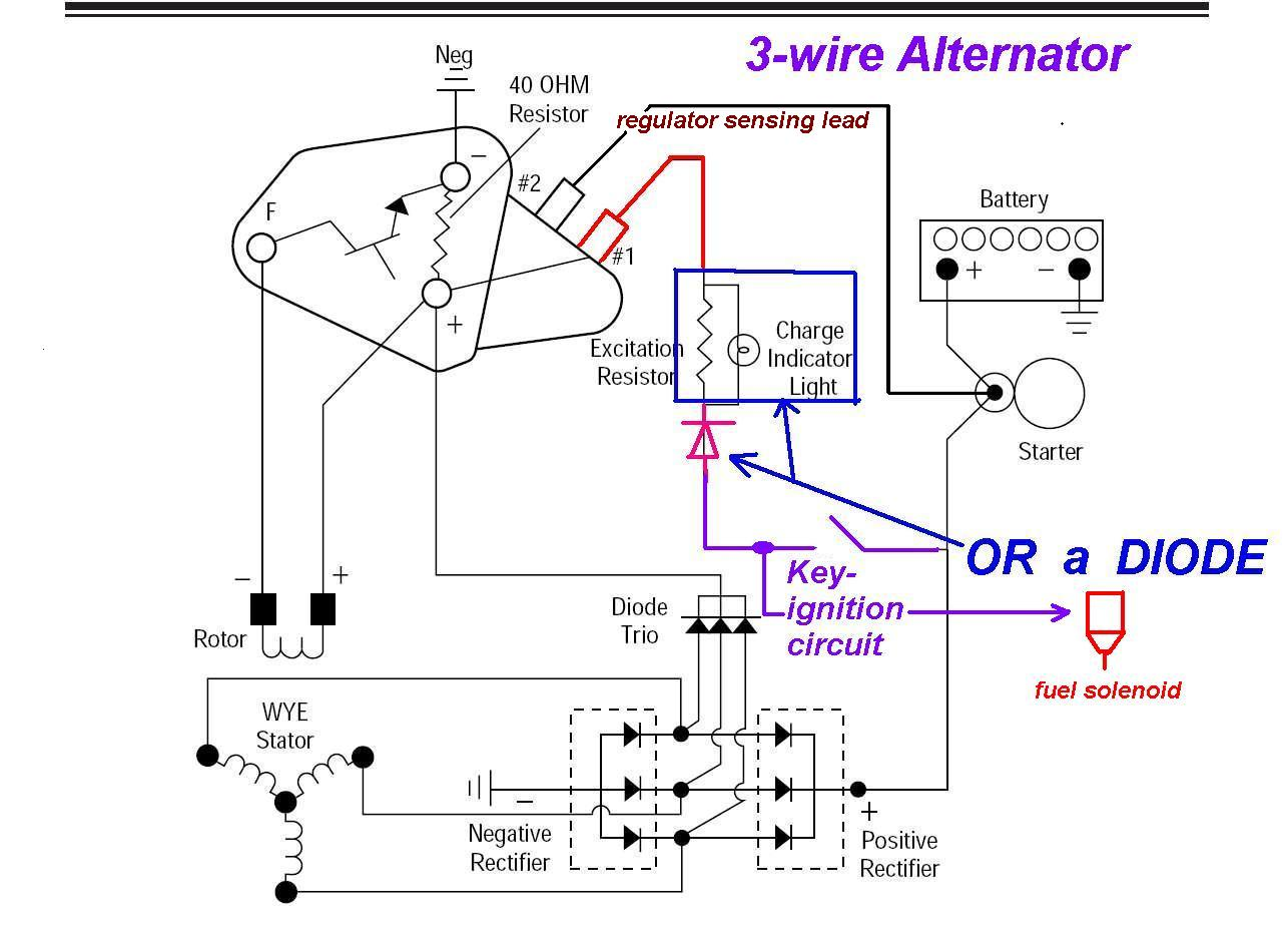 3-Wire Alternator Regulator Diagram