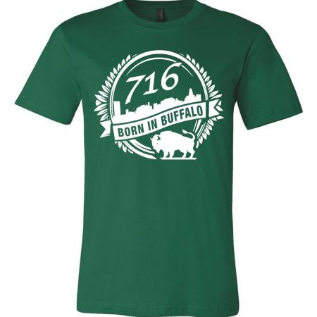 A Green T-shirt with the city of Buffalo graphic designed by SB Marketing.