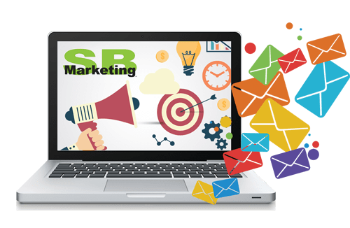 SB Marketing advertisement designed with graphic envelope icons