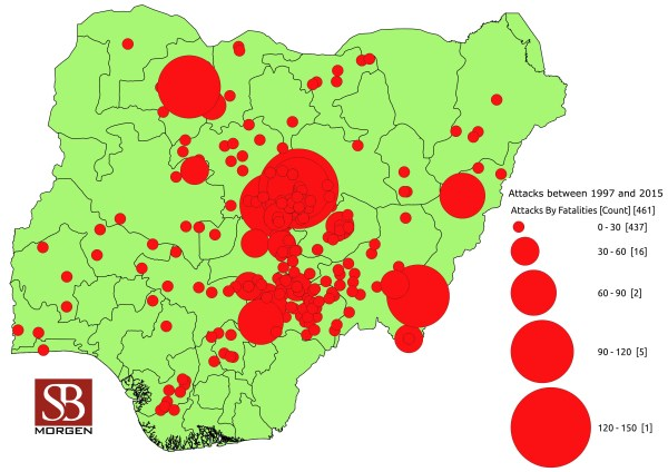 Verified incidents involving Fulani herdsmen between 1997 and 2015.