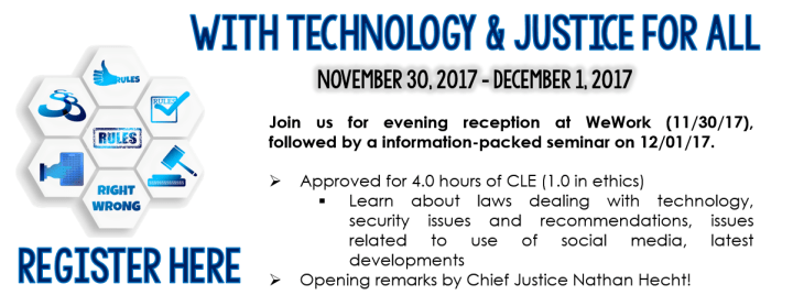 Join us for an evening social, followed by a jam-packed CLE!