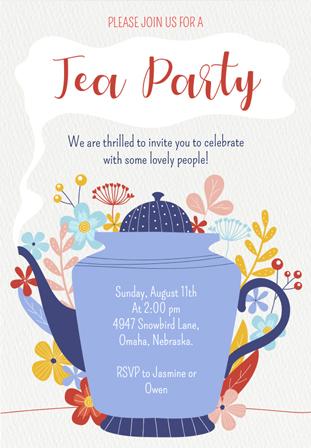 tea party invitations choose any