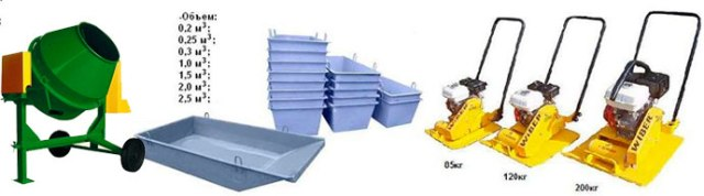 аренда бетономешалок, ящики для раствора, тара