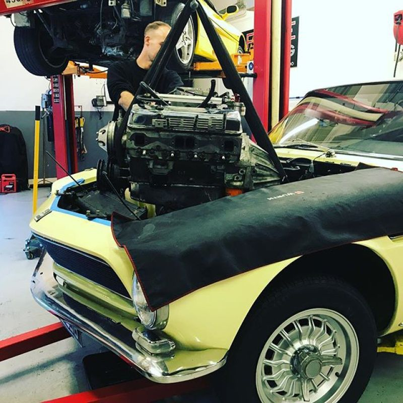 Engine is coming out of the Rivolta! This one is far from stock!  #iso #rivolta #classics #service #sbraceengineering #americanmuscle #corvette #327 #italian