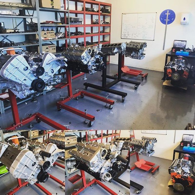 The engine room is busy today!327 Grifo, 308 and 246 Dino engines nearly done, 250 PF and 360 Challenge engines to do now!#ferrariengine #ferrari #ferrari360 #ferrari360challenge #ferraridino #ferrari308 #ferrari250 #grifo #americanv8 #engineroom #enginebuild #sbraceengineering #specialists #redesignsporty