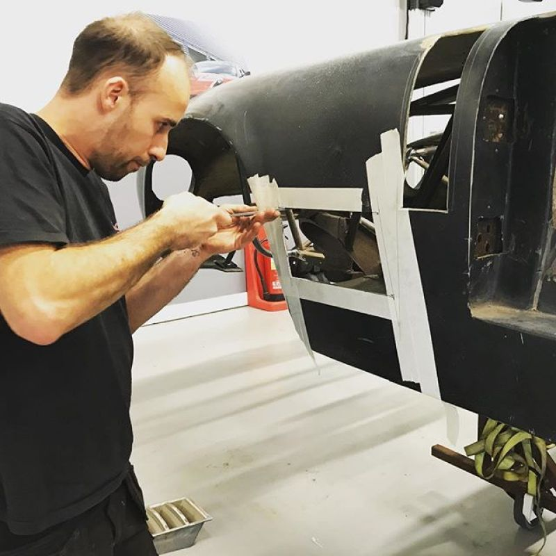 New holes for vents on the #bizzarrini5300 . Roll cage and welding done, just prepping the body and finishing touches before both go off for paint.#racing #racecars #historic #fabricationlife #specialist #classiccar #bizzarrini #bizzarrini #sbraceengineering  #london #projects