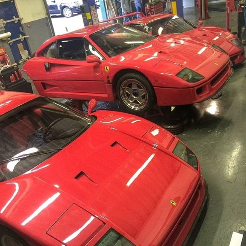 We always enjoy an F40 take over at SBR. The whole team have massive experience with these cars. Great to see such an iconic car still gets so much appreciation. #sbraceengineering #specialists #comeinthrees #ferrari #f40 #fcars #red #iconic #80s #kevlar #supercar #service #rebuild