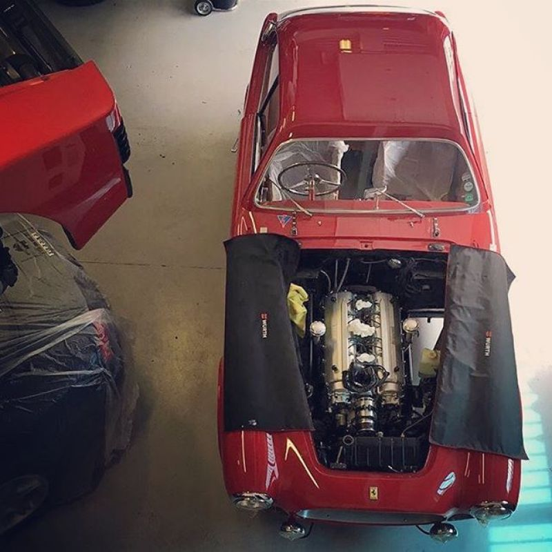We are lucky enough to have a hole in the floor we can lower engines straight into the Cars from our engine room..... it doesn't work on them all! #ferrari #ferrari225s #225s #monacohistorique #testarossa #456 #holeinthefloor #engineroom #enginebuild #specialist #classic #classiccars #rare #ferrariracing #sbraceengineering