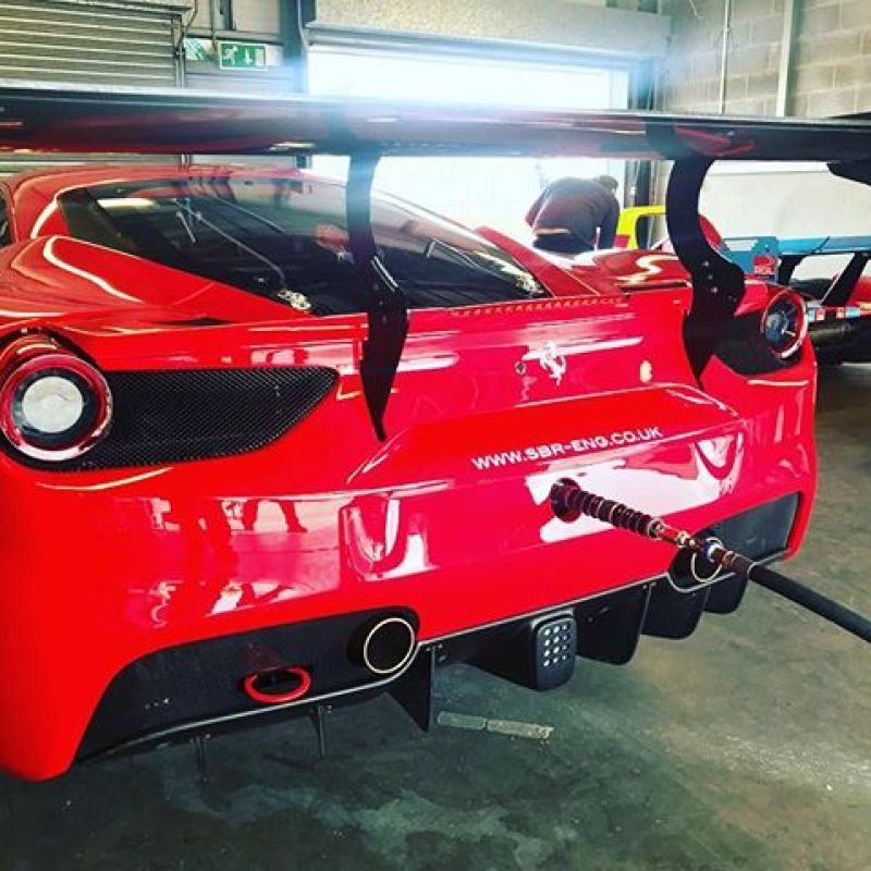Testing the new 488 ahead of our first round of GT cup! Nice day for it..#donington #gtcup #ferrari #ferrari488 #ferrariracing #red #testing #sbraceengineering #sbr