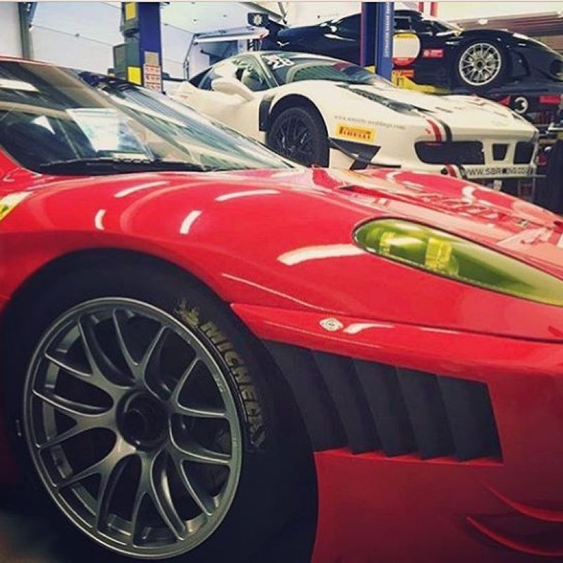 Race car Collection at our old workshop. Ferrari 430ch, 430gtc and 458ch. Not a bad collection! #ferrari #430 #430challenge #458 #458challenge #430gtc #gt2 #ferrariracing #bbs #michelin #sbraceengineering #sbr #red #racing #racecar #engineering
