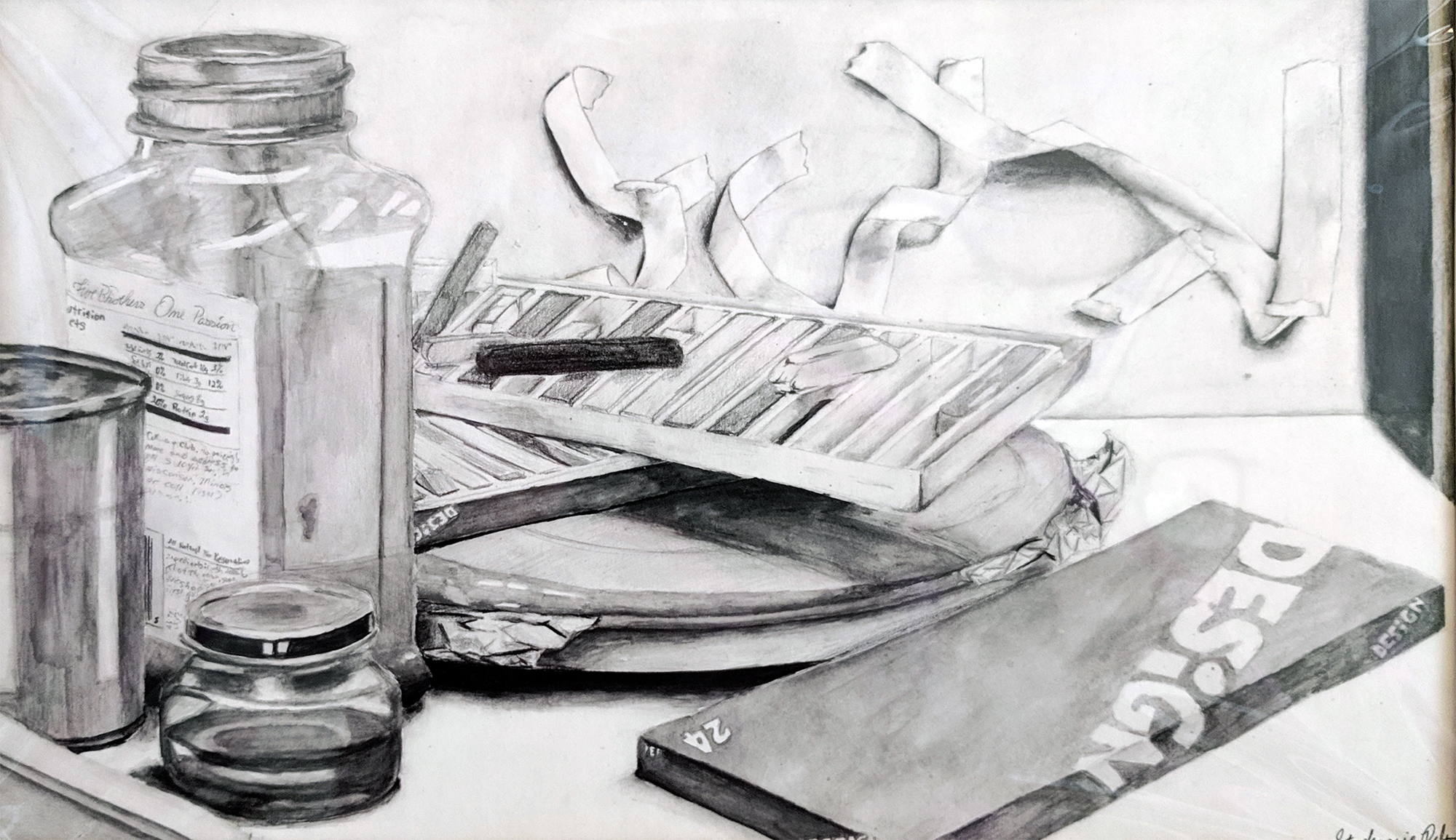 graphite still life of collection of art supplies
