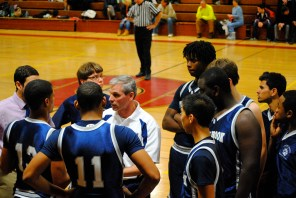 Coach Mike Hickey guides the boys to a win at Pierson