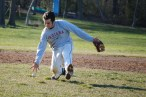 Ryan Haas charges a grounder