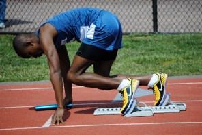 Khoren Lawson on his mark in the sprint medley relay