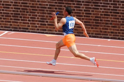 Colucci thunders down the homestretch with the 2nd best time in school history in hand