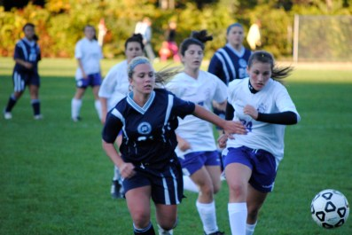 10. Donna Liotine charges toward the goal on the way to her game-winning tally vs. Port Jeff