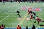 Liotine breaks free for a 27 yard gain during SBU's spring game in April