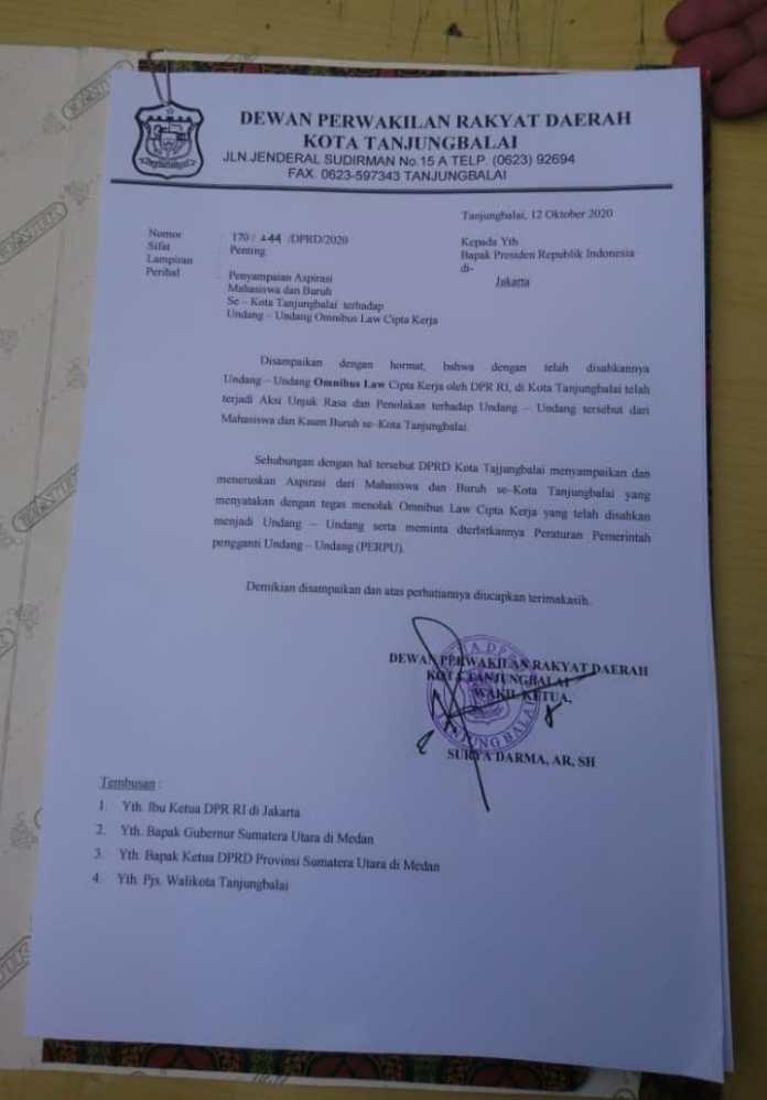 DPRD Tanjung Balai menyampaikan dan meneruskan aspirasi