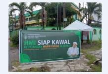 Spanduk HMI Sumut yang bertuliskan siap menyambut Habib Rizieq Shihab di Sumut
