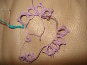 Natalie's first attempt at tatting.