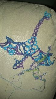 Tatted by Natalie Rogers. I have a small dragon in progress that I hope to complete before next Wednesday. Lizbeth thread Springtime (115) Size 80