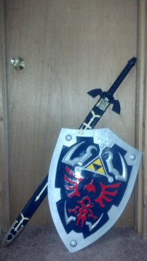 Triforce tatted by Natalie pictured with Master Sword and shield.