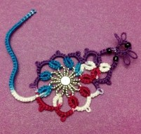 Morgan Mouse pattern designed by Wanda. Tatted by Natalie Rogers in Lizbeth thread color Jewels (#113) and size 20.