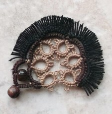 Challenge Accepted - Reader Submission for Challenge #18 - Hedgehog - Tatted by Marie McCurry in Lizbeth, size 20, black, med brown fudge, and mocha brown.