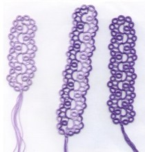 Pearl Tatted Bookmarks with Lauren Snyder. This lovely pattern uses pearl tatting and split rings to create unique bookmarks.