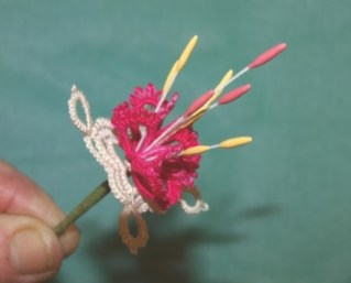 Fuchsia with Sally Biggers She will be showing how to combine techniques from the florist industry with tatting to create elegant flowers.