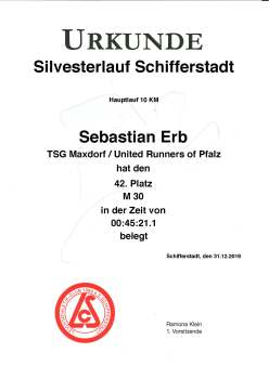 Urkunde 37. Schifferstadter Silvesterlauf