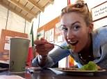 SBTHP front desk receptionist Brittany Sundberg enjoying her Ensalada de Guacamole! Photo by Brittany Avila.