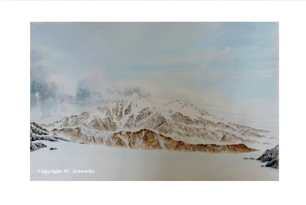 Southern Alps watercolour