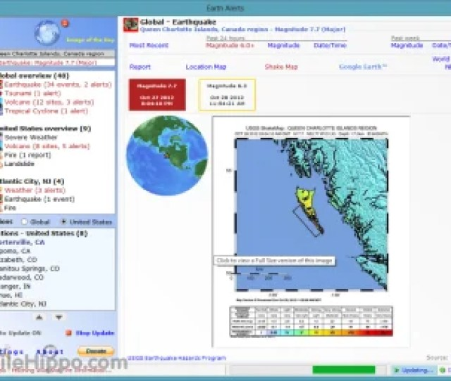Earth Alerts Is A Small Application That Allows You To Monitor In Near Real Time A Variety Of Natural Events That Are Occurring Anywhere Around The World