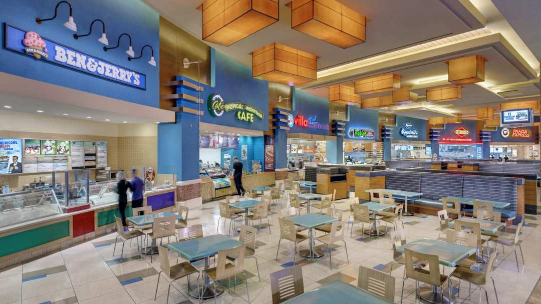 a photo of the food court
