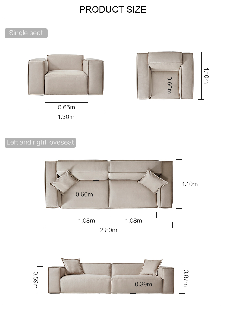 Linsy Nordic technology cloth modern single living room 4 seaters luxury fabric sofa S040