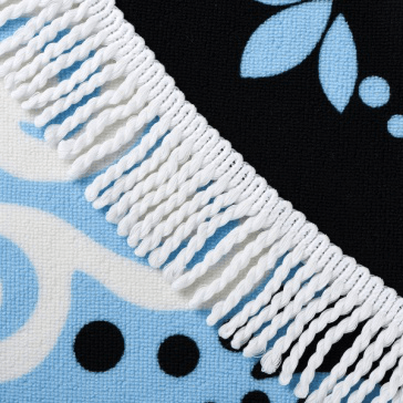 High quality wholesale customized printing round beach towel with tassel