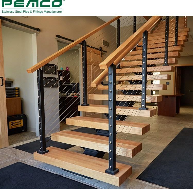 Diy Modern Indoor Safety Installing Black Tension Vertical   Black Iron Pipe Stair Railing   Staircase Railing   Industrial Style   Deck   Steel Pipe   Reclaimed Wood