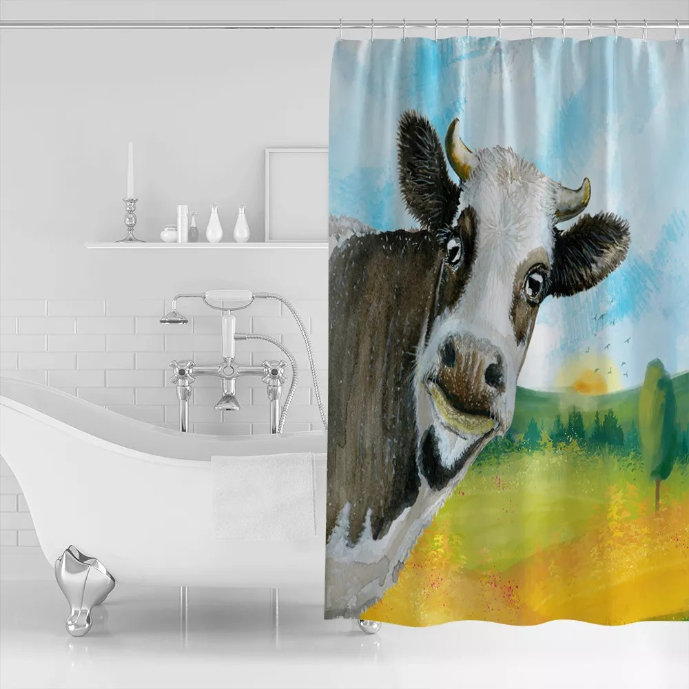designer brand farm house shower curtain lovely cow printing water resistant bath curtain for house decor buy custom printed shower curtains indoor