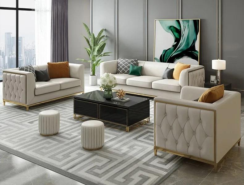 canapes en cuir avec jambes en acier inoxydable mobilier de luxe moderne de style americain pour chambre d hotel buy canape en cuir de style