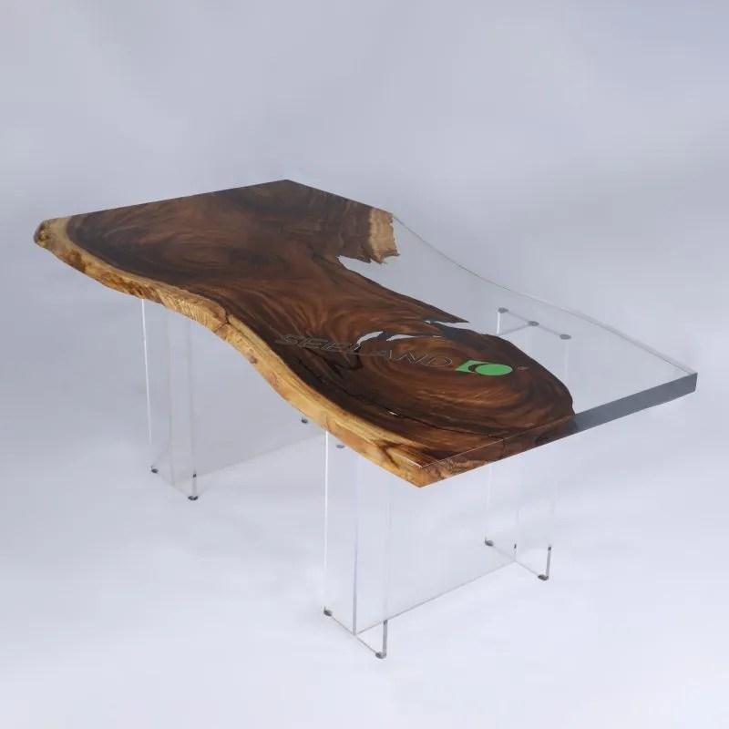 table en resine epoxy transparente en noyer noir monkeypod bois d olive table de table haut de gamme buy conception speciale clair riverepoxy table